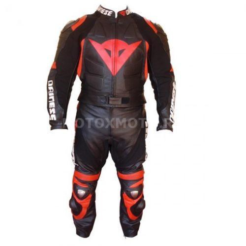 Dainese Black Red кожаный мотокомбинезон
