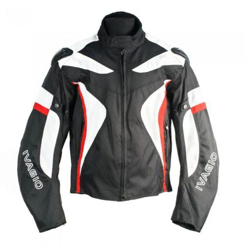 Текстильная мотокуртка Ivagio мужская, цвет черный белый красный