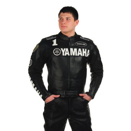 Кожаная мотокуртка YAMAHA black replica
