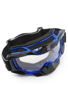 Очки кроссовые (mod: MJ-1015, синие, прозрачное стекло)